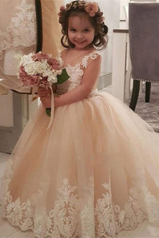 Λουλούδι κορίτσι φορέματα Έτος 2019 Αμάνικο Κόσμημα Δαντέλα Χειμώνας Φυσικό