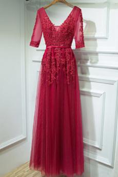Δαντέλα επικάλυψης Φυσικό σύγχρονος Λαιμόκοψη V Παράνυμφος φορέματα