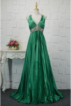 εξώπλατο Λαιμόκοψη V Διακοσμημένες με χάντρες ζώνη Μπάλα φορέματα
