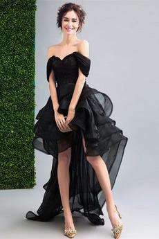 Οργάντζα Από τον ώμο Αμάνικο Προσαρμοσμένες μανίκια Κοκτέιλ φορέματα