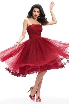 Τούλι Φυσικό Αχλάδι Κομψό Αμάνικο Στράπλες Κοκτέιλ φορέματα