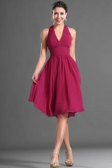 Καλοκαίρι απλός Σιφόν Φυσικό Αμάνικο Μίνι Παράνυμφος φορέματα
