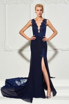 Μικρό Σιφόν Λαιμόκοψη V Μπροστινό Σκίσιμο Βραδινά φορέματα