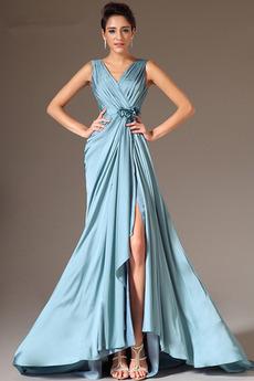 Μπροστινό σχισμή Αμάνικο Λαιμόκοψη V Λουλούδι Βραδινά φορέματα
