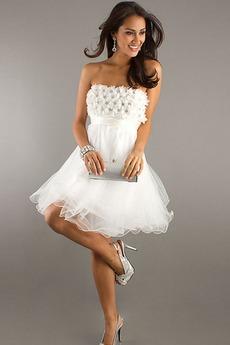 Φυσικό Τονισμένα ροζέτα Τα μέσα πλάτη Οργάντζα Μπάλα φορέματα