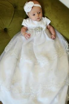 Υψηλή καλύπτονται Μακρύ Δαντέλα Κοντομάνικο Φόρεμα Βάπτισης