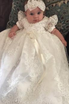 Κοντομάνικο Κόσμημα Μέση αυτοκρατορία Καλοκαίρι Φόρεμα Βάπτισης