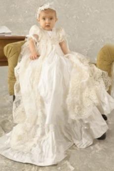 Φυσικό Πριγκίπισσα Τονισμένα τόξο Επίσημη Φόρεμα Βάπτισης
