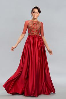 Φυσικό Μισό Μανίκι Δαντέλα Κόσμημα Δαντέλα επικάλυψης Μπάλα φορέματα
