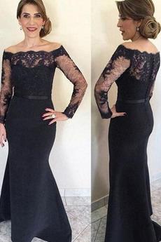 Μητέρα φόρεμα Μακρύ Μανίκι Κομψό & Πολυτελές Δαντέλα Φερμουάρ επάνω