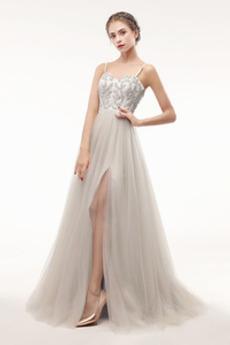 Φερμουάρ επάνω Μπροστινό σχισμή Φυσικό Καλοκαίρι Μπάλα φορέματα