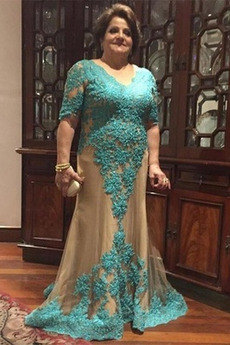 Μητέρα φόρεμα Δαντέλα Κοντομάνικο Κοντομάνικο Δαντέλα επικάλυψης