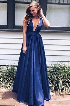 Λαιμόκοψη V Γραμμή Α Φυσικό Αμάνικο Ελαστικό σατέν Μπάλα φορέματα