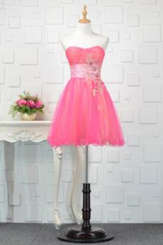 Οι πτυχωμένες μπούστο Γραμμή Α Φυσικό Αμάνικο Μπάλα φορέματα