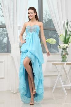 Κομψό Ασύμμετρη Πλισέ αγαπημένος εξώπλατο Μπάλα φορέματα