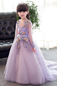Γραμμή Α Κόσμημα Τονισμένα ροζέτα Ψευδαίσθηση Λουλούδι κορίτσι φορέματα