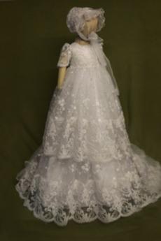 Τούλι Πριγκίπισσα Φθινόπωρο Δαντέλα Υψηλή καλύπτονται Φόρεμα Βάπτισης
