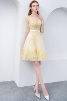 Χάντρες Ψευδαίσθηση Μισό Μανίκι Μέχρι το Γόνατο Κοκτέιλ φορέματα