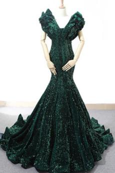 Μπάλα φορέματα Γοργόνα Αμάνικο Διαδοχικά Βολάν Βαθιά v-λαιμός Δαντέλα-επάνω