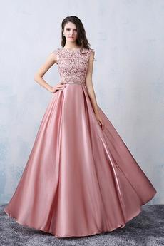 Σατέν Γραμμή Α Δαντέλα επικάλυψης Φερμουάρ επάνω Βραδινά φορέματα