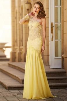 Σιφόν Γοργόνα Αμάνικο βλέπω μέσω Λαμπερό Μπάλα φορέματα