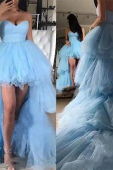 Κομψό Ασύμμετρη αγαπημένος Φυσικό υψηλή Χαμηλή Μπάλα φορέματα