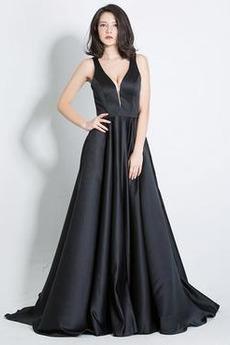 b6532b869d47 Βαθιά v-λαιμός Φυσικό Λαιμόκοψη V Ντραπέ Βραδινά φορέματα