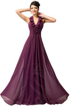 Άνοιξη Φυσικό Λαιμόκοψη V Ντραπέ Σιφόν Γραμμή Α Βραδινά φορέματα