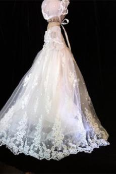 Επίσημη Τόξο Μέση αυτοκρατορία Κοντομάνικο Φόρεμα Βάπτισης