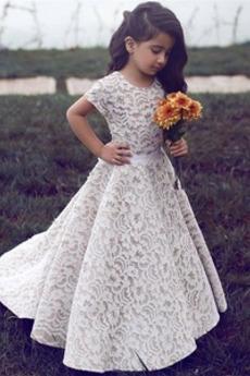 Λουλούδι κορίτσι φορέματα Δαντέλα Κοντομάνικο Επίσημη Χάνει Φερμουάρ επάνω Καλοκαίρι