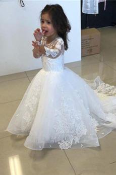 Λουλούδι κορίτσι φορέματα Οργάντζα Μακρύ Φερμουάρ επάνω Χάνει Άνοιξη Κόσμημα