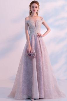 Τα μέσα πλάτη Αχλάδι Δαντέλα επικάλυψης Φυσικό Μπάλα φορέματα