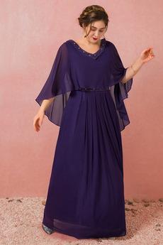 Χαλαρά μανίκια Δαντέλα-επάνω Σιφόν Κοντομάνικο Μπάλα φορέματα