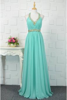 Άνοιξη Κρυστάλλινη Κόσμημα τονισμένο μπούστο Βραδινά φορέματα