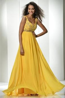 Αμάνικο Σιφόν Φυσικό Γραμμή Α Πλισέ Κόσμημα τονισμένο μπούστο Μπάλα φορέματα