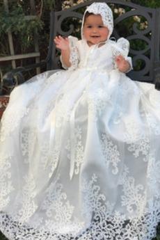 Κοντομάνικο Τονισμένα τόξο Φυσικό Τούλι Πριγκίπισσα Φόρεμα Βάπτισης