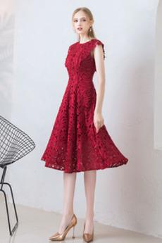 Φθινόπωρο Δαντέλα Δαντέλα επικάλυψης Γραμμή Α Κοκτέιλ φορέματα