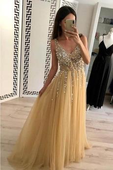 Μπάλα φορέματα εξώπλατο Φυσικό Γραμμή Α Τούλι Αμάνικο Λαιμόκοψη V