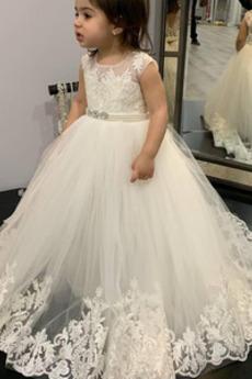 Λουλούδι κορίτσι φορέματα Έτος 2019 Αμάνικο Διακοσμημένες με χάντρες ζώνη Τούλι