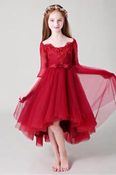 Από τον ώμο Ασύμμετρη Δαντέλα Κοντομάνικο Λουλούδι κορίτσι φορέματα
