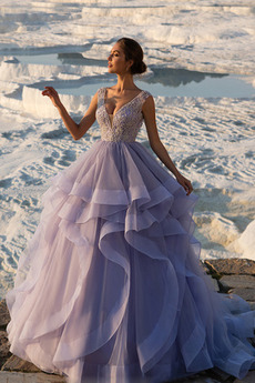 Μπάλα φορέματα Αμάνικο Χάντρες Οργάντζα Καλοκαίρι Έτος 2019 Χάνει