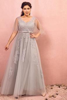 Κοντομάνικο Τονισμένα τόξο Δαντέλα Γραμμή Α Παράνυμφος φορέματα