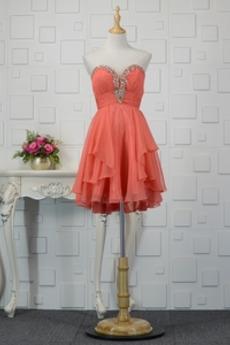 Αμάνικο αγαπημένος Μίνι Μικροκαμωμένη Χάντρες Κοκτέιλ φορέματα
