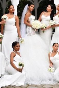 Χάνει Θήκη Ντραπέ Αμάνικο Σατέν Τιράντες σπαγγέτι Παράνυμφος φορέματα