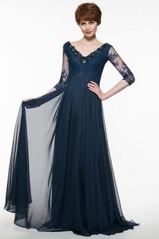 Γραμμή Α Φυσικό Οι πτυχωμένες μπούστο Φερμουάρ επάνω Μητέρα φόρεμα