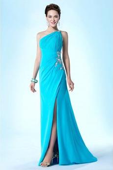 Πλισέ Γραμμή Α Αμάνικο Ρετρό Φυσικό Καθαρή πλάτη Βραδινά φορέματα