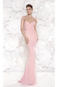 Προσαρμοσμένες μανίκια Χάντρες Θήκη Δεν μέση Βραδινά φορέματα