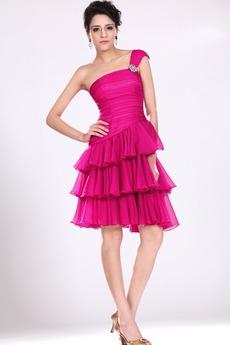 Ασύμμετρα μανίκια πολλαπλών στρώμα Πλισέ Μπάλα φορέματα