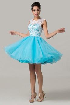Μίνι Δαντέλα Φυσικό Φερμουάρ επάνω Ρομαντικό Μπάλα φορέματα