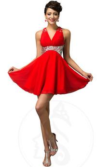 Γραμμή Α Φυσικό Λαιμόκοψη V Χάντρες Αμάνικο Βραδινά φορέματα